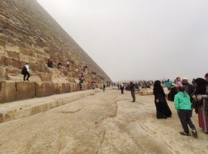 Overcrowding at the Pyramids of Giza in Egypt